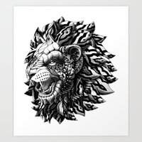 lion Art Prints featuring Lion by BIOWORKZ