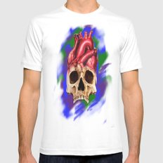Think With Your Heart SMALL White Mens Fitted Tee