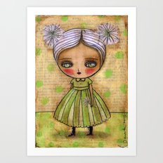 Dandelion Girl in Yellow And Green Art Print