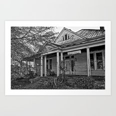 House on the Hill 2 in Black and White Art Print