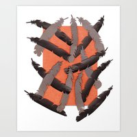 Leather Feathers Art Print