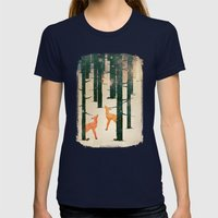 Winter Deer Womens Fitted Tee Navy SMALL