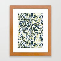 Blue Flowers Pattern Framed Art Print