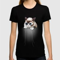 POCKET CAT 2015 Womens Fitted Tee Black SMALL