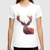 white T-shirts featuring Red Deer // Stag by Amy Hamilton