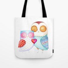Love Birds - One Heart - Owl Couple Tote Bag