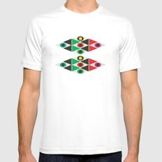 triangle pattern Mens Fitted Tee SMALL White