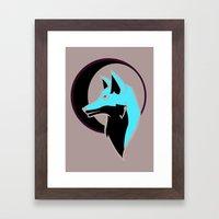 Night Fox with Moon Framed Art Print