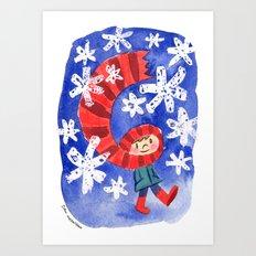 Scarf & Snowflakes Art Print
