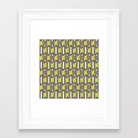 Mod White Stripes Framed Art Print