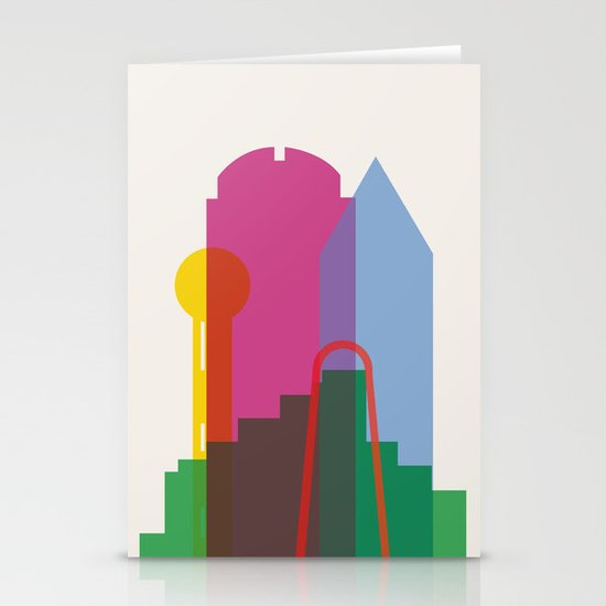 Shapes of Dallas. Accurate to scale. Stationery Card