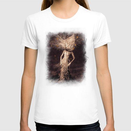 Dark portrait in autumn (colour option) T-shirt
