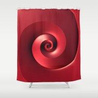 Red Spiral Shower Curtain