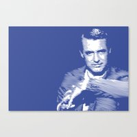 Cary Grant Blue Canvas Print
