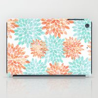 aqua and coral flowers iPad Case