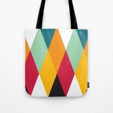 Yellow Orange Red Blue Black Diamond Pattern  Tote Bag