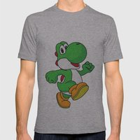 Yoshi Pop Art - White Mens Fitted Tee Athletic Grey SMALL
