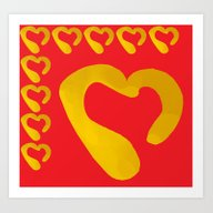 Gold Hearts On Red Art Print
