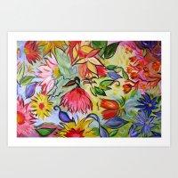 Pastel Flower Swirls Art Print