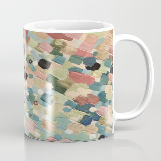 SWEPT AWAY 4 - Lovely Shabby Chic Soft Pink Ocean Waves Mermaid Splash Abstract Acrylic Painting Mug