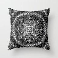White Flower Mandala On … Throw Pillow