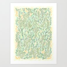 Green and Yellow Leaves Art Print