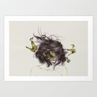 hair Art Prints featuring Hair III by The White Deer
