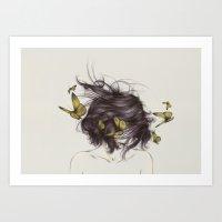 deer Art Prints featuring Hair III by The White Deer