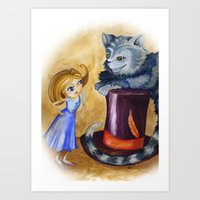 Chesire and Alice Art Print