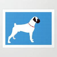 White Boxer Dog Art Print Art Print