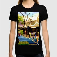 Sidewalk Cafe Womens Fitted Tee Black SMALL