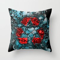 Recycle World - Blue Throw Pillow
