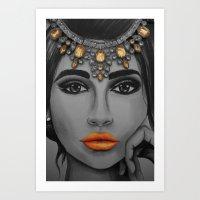 Tangerine Sky Goddess - by Ashley-Rose Standish Art Print