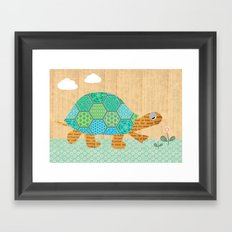 Cute turtle Collage on wooden background Framed Art Print