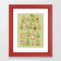 Bird Cages On Green Framed Art Print