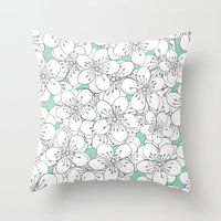 Cherry Blossom With Mint… Throw Pillow