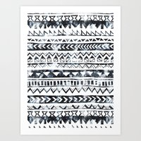 Tribal Stripe - B & W Art Print