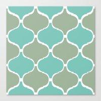Marrakech Pattern Sea Green Canvas Print