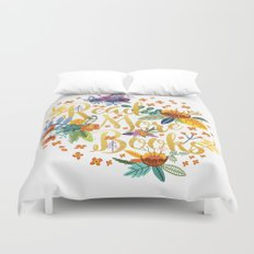 Read More Books - Floral Gold Duvet Cover
