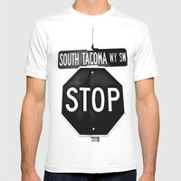South Tacoma Stop Mens Fitted Tee White SMALL