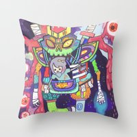 Kuri and the Kaiju Throw Pillow