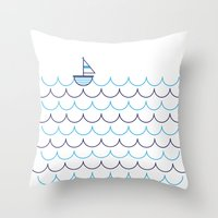Sail Boat on Water Throw Pillow