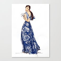 Vintage Hawaiian Print Girl Fashion Illustration  Canvas Print