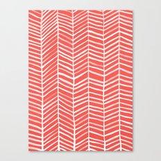 Coral Herringbone Canvas Print