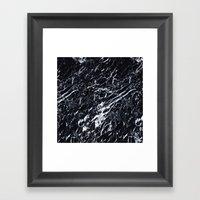 Real Marble Black Framed Art Print