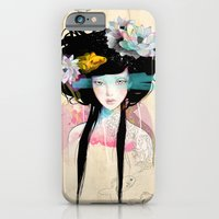 portrait iPhone & iPod Cases featuring Nenufar Girl by Ariana Perez