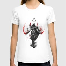 assassin's creed ezio Womens Fitted Tee White SMALL