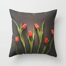 Orange Tulips Throw Pillow