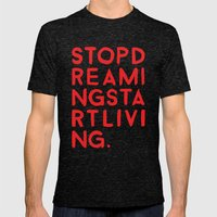 STOPDREAMINGSTARTLIVING Mens Fitted Tee Tri-Black SMALL