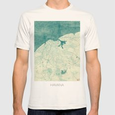 Havana Map Blue Vintage Mens Fitted Tee Natural SMALL